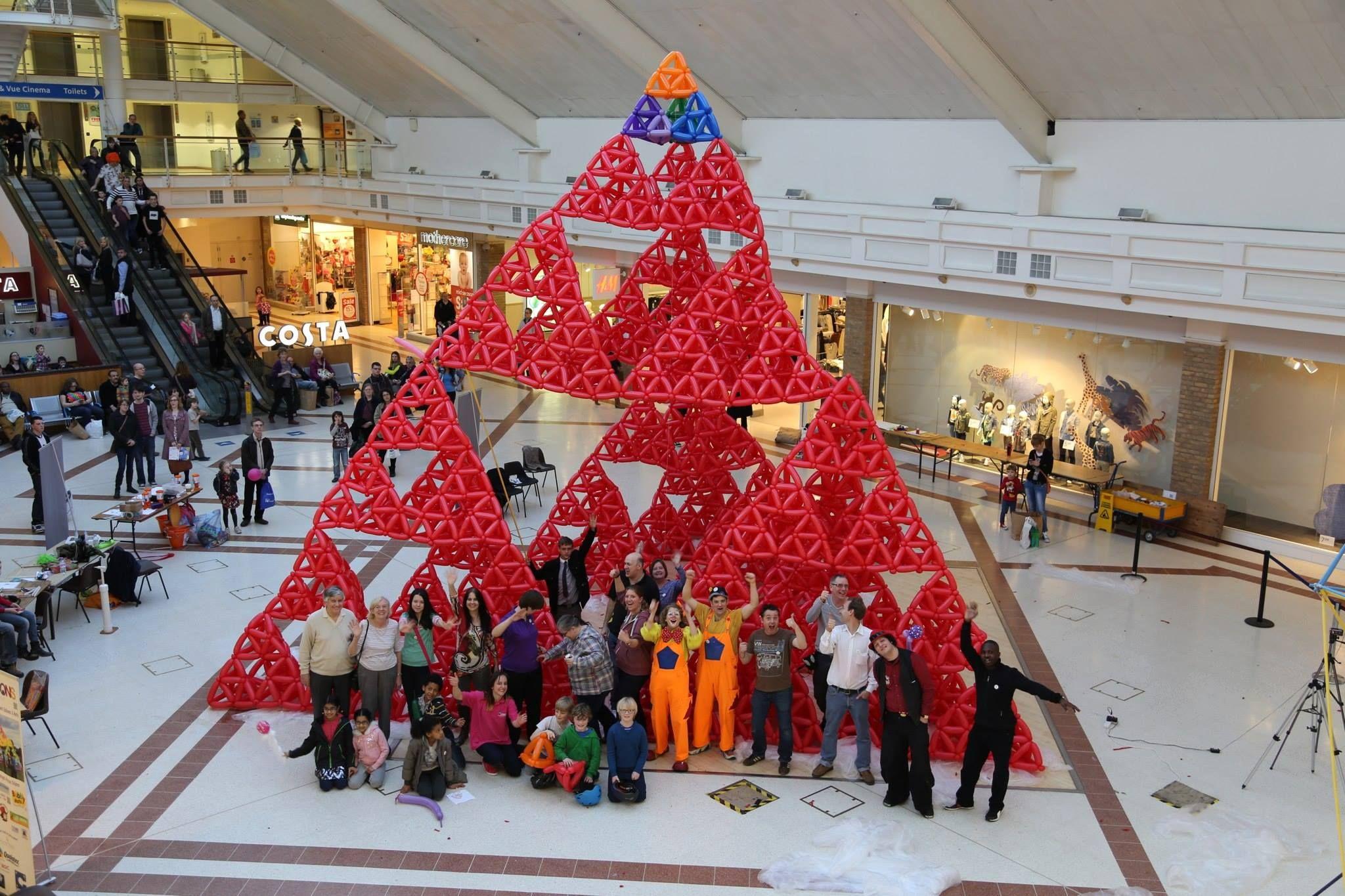 Sierpinski triangle built from balloons. (Credithttp