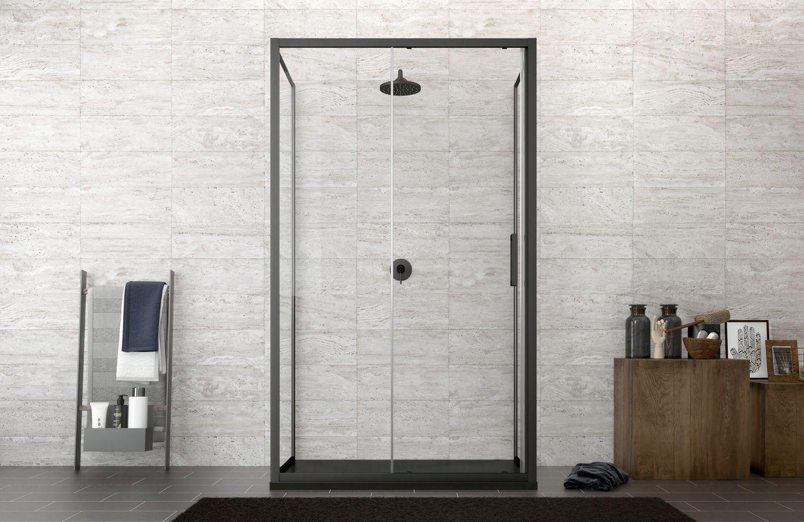 Box doccia 3 lati con profilo nero 70x120x70 cm scorrevole