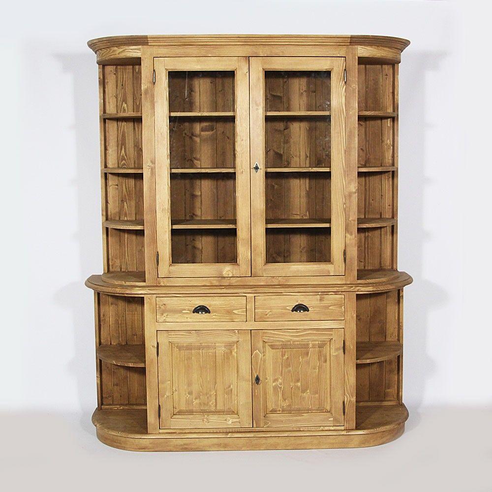 Vaisselier Ancien Brocante: Bibliothèque Formes Arrondies Pin Massif (1307,00
