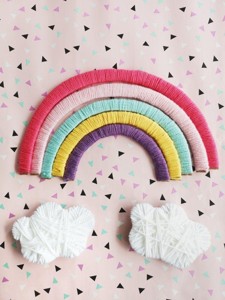 DIY Regenbogen aus Pappe Kinderzimmer Deko einfach