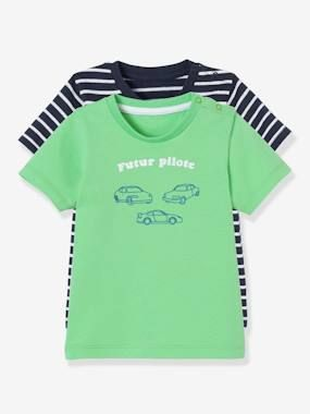 Vertbaudet Lot de 2 T-Shirts b/éb/é gar/çon Motif imprim/é