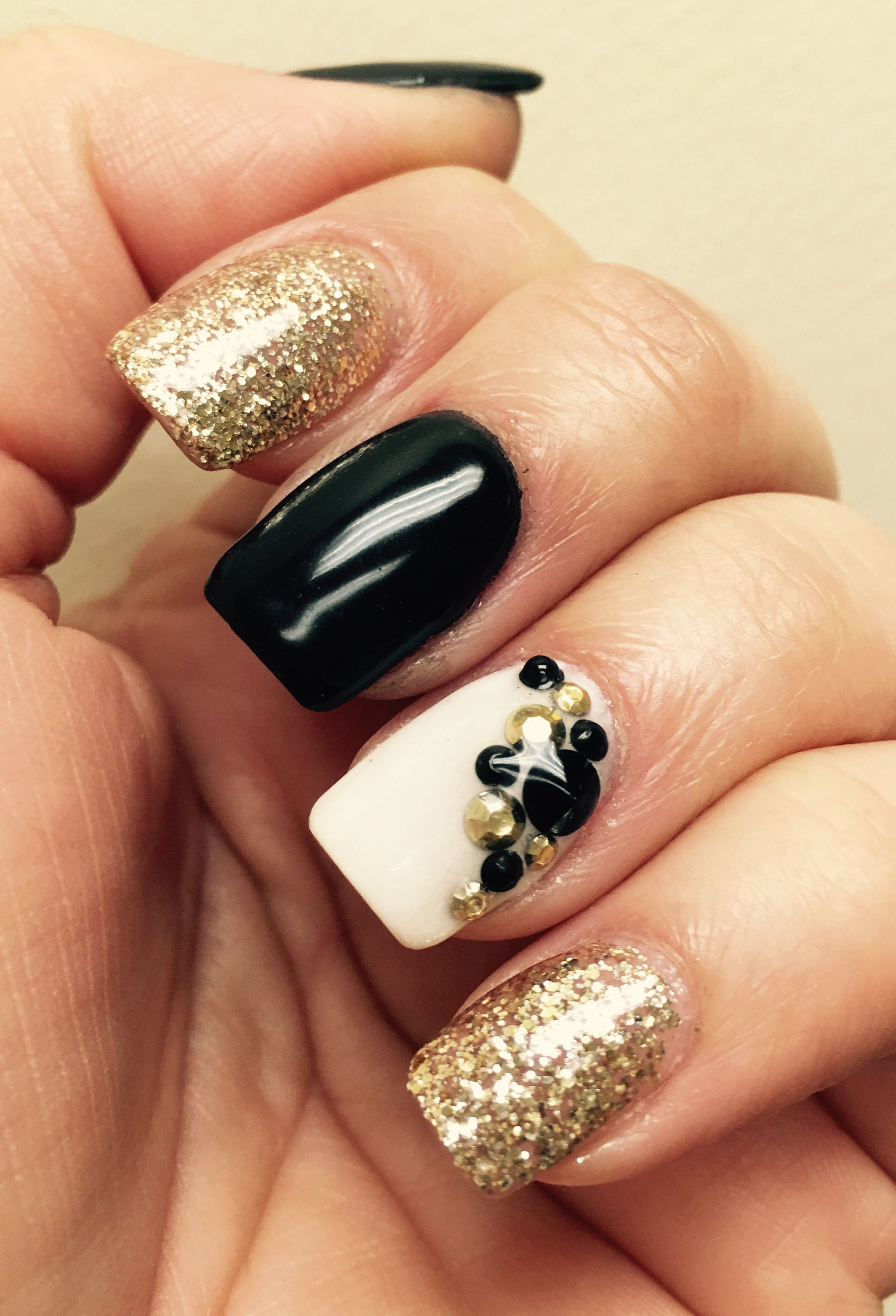 Nexgen Mails Black White Gold With Rhinestones Black Gold Nails Gold Nails Gold Nail Polish