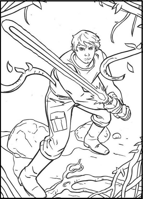Luke Practice Sword Coloring Picture For Kids