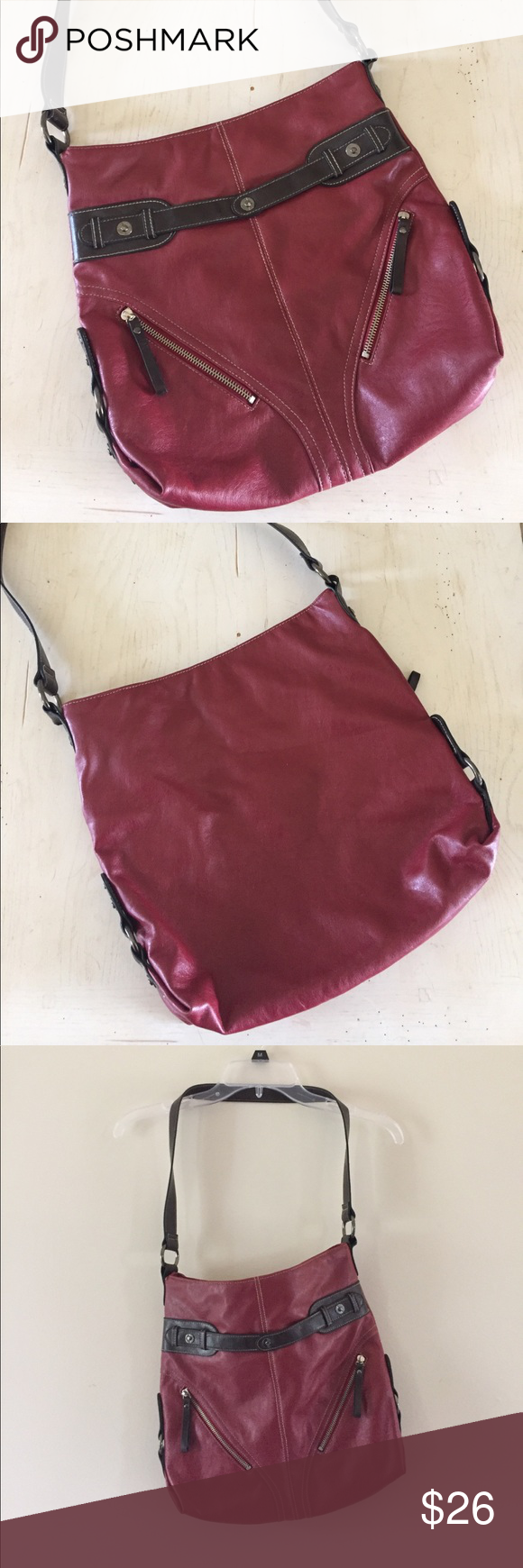 Red and brown shoulder bag Red and brown shoulder bag. Approximately 12 x 12. One button snap closer. Bags Shoulder Bags