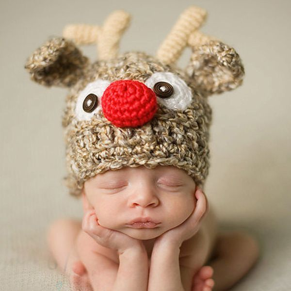 BABY TODDLER COSTUME PHOTO PROP KNIT CROCHET BEANIE ANIMAL HAT CAP Christmas