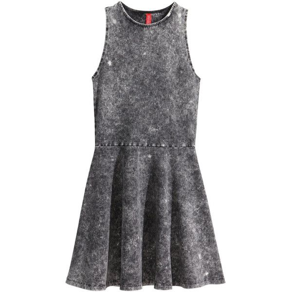 H&M Jersey dress (44 BRL) ❤ liked on Polyvore featuring dresses, h&m, vestidos, short jersey dress, sleeveless jersey, sleeveless short dress, sleeveless dress and flare dress