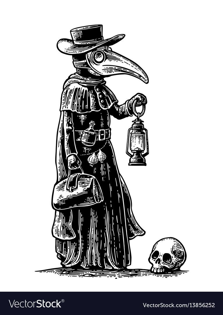 Plague Doctor With Bird Masksuitcase Lantern Garlic And Hat Vector Black Vintage Engraving Illustration Isolated On A White Background