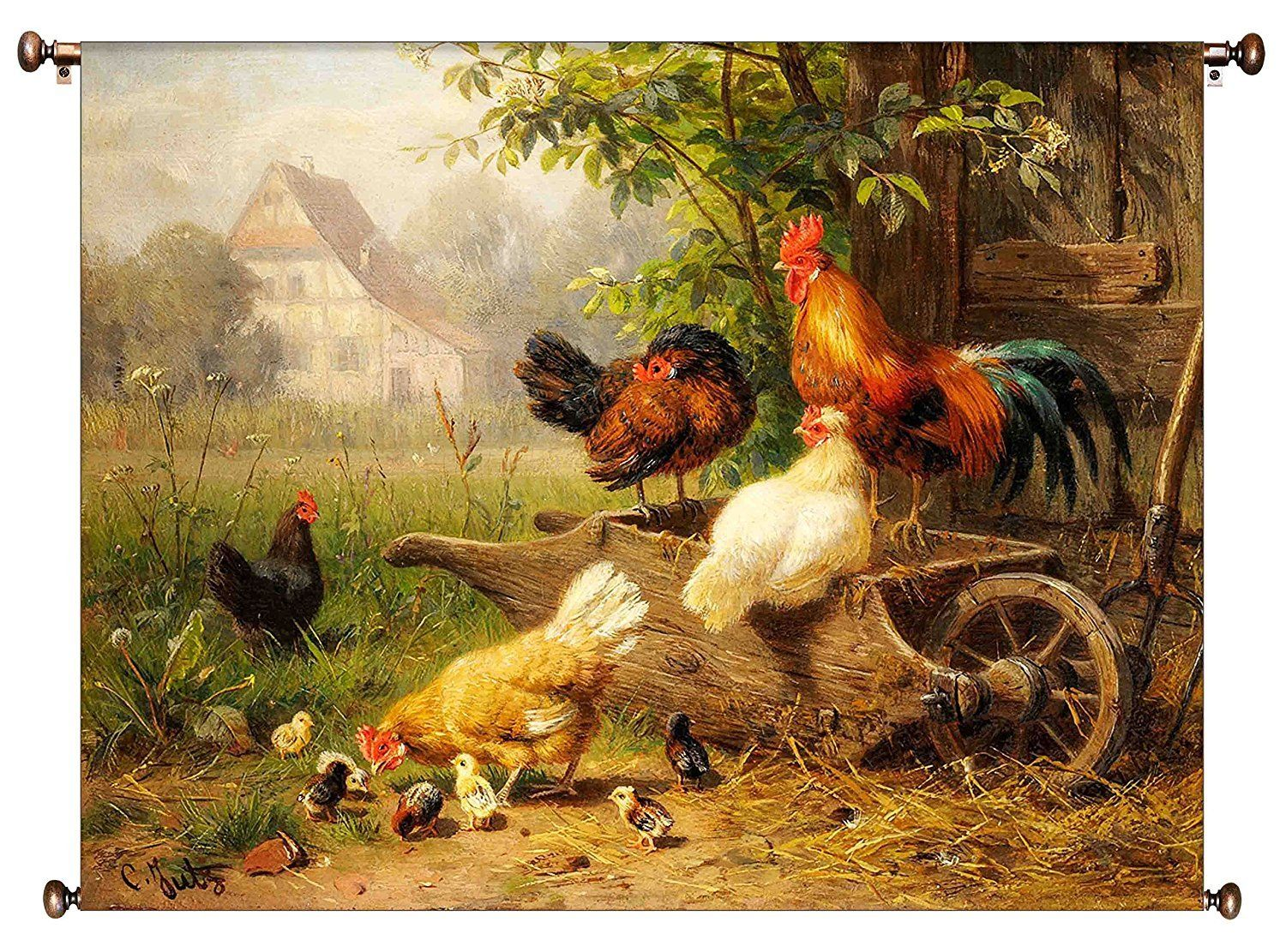 Chicken on Wheelbarrow Kitchen Picture on Canvas Hung on Copper Rod ...