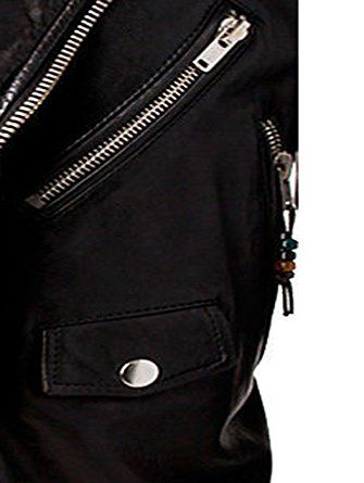 3bb4b8cf3f0b Men's Slim fit Biker Brando Black Real Leather Jacket: Amazon.co.uk:  Clothing