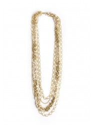 Pearly White Necklace In Gold  $23.00