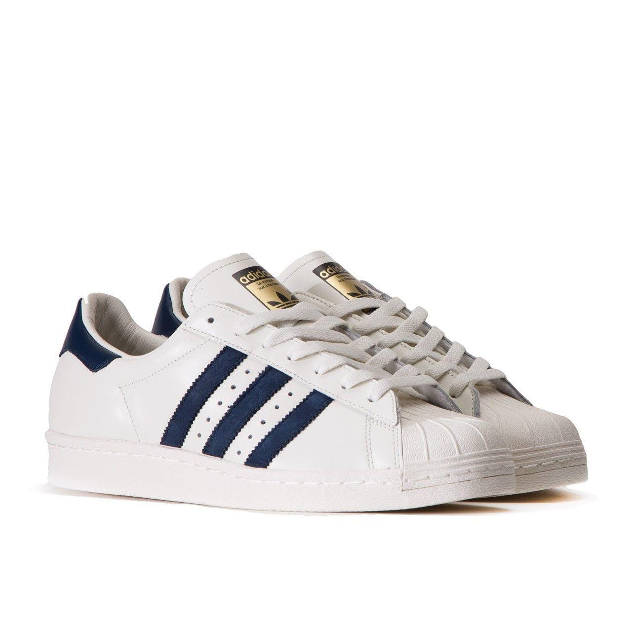 adidas Originals Superstar 80s DLX Deluke White \u0026 Navy B25964 Mens Shoes