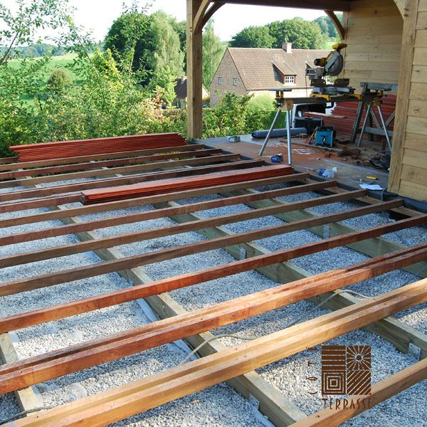 Terrasse en bois réalisée sur des vis de fondation Krinner COTE