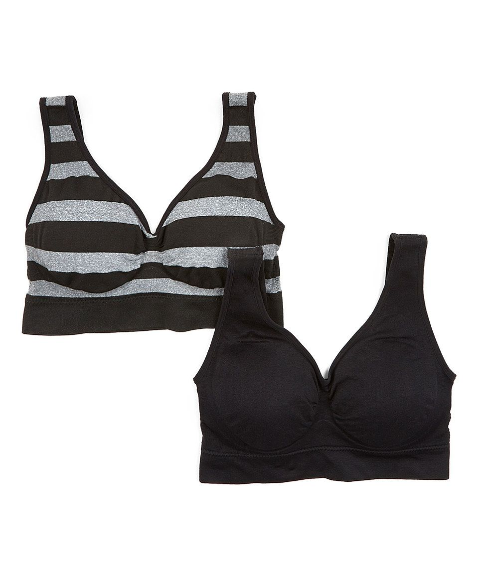 e6d0134aa6640 Loving this Delta Burke Intimates Black   Gray Stripe Seamless Comfort  Wireless Bra Set - Plus on  zulily!  zulilyfinds