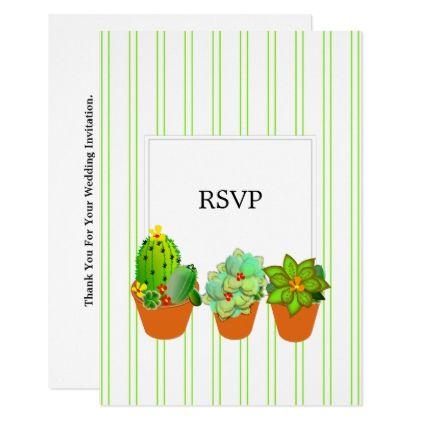 Botanical Succulent Plant Pots Personalized Rsvp Card Wedding