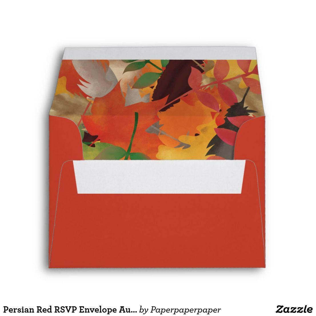 Persian Red RSVP Envelope Autumn Leaves Lining | { Wedding ...