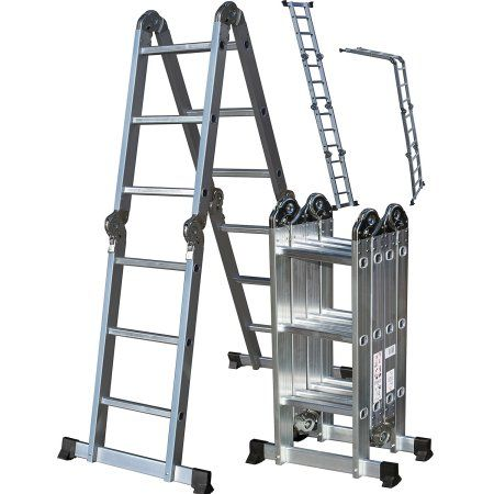 Den Haven Scaffold Folding Ladder Heavy Duty Aluminum Multi Purpose 12 5 Feet Walmart Com Multi Purpose Ladder Best Ladder Ladder
