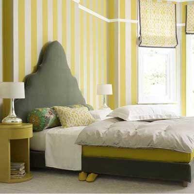 habitacion dormitorio cuarto pintado de amarillo y blanco a rayas - Pintar Habitacion