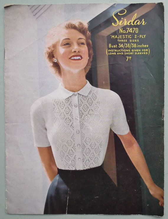 2f9ed985bfc Vintage Knitting Pattern 1940s 1950s Womens Sweater / Jumper Blouse ...