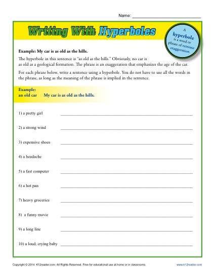 Writing With Hyperboles Hyperbole Worksheets Hyperbole Hyperbole Activities Worksheets Hyperbole worksheets 6th grade