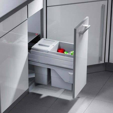 CargoSoft G Waste Bin 1 X 15 Litre 10 Pull Out Kitchen Bins With Soft Close Runners Cabinet 25 Litres