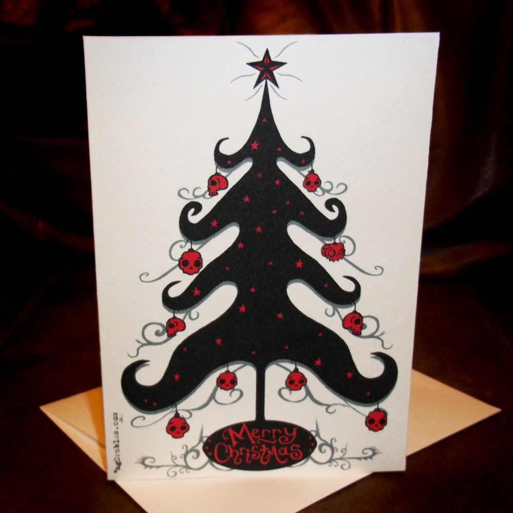 Gothic Christmas Tree with Skull Balls 5x7 Greeting Card Blank ...