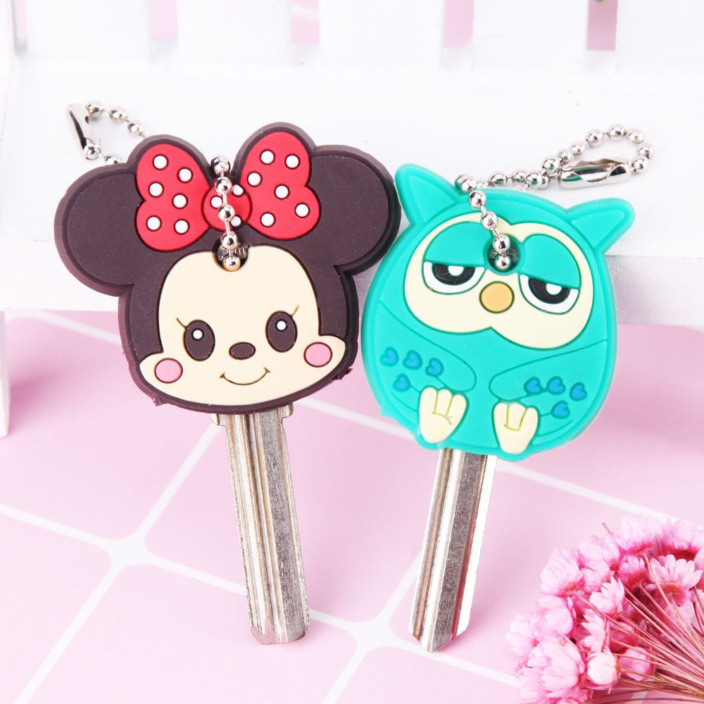 Cartoon Anime Cute Key Cover Cap Silicone Mickey Stitch Bear