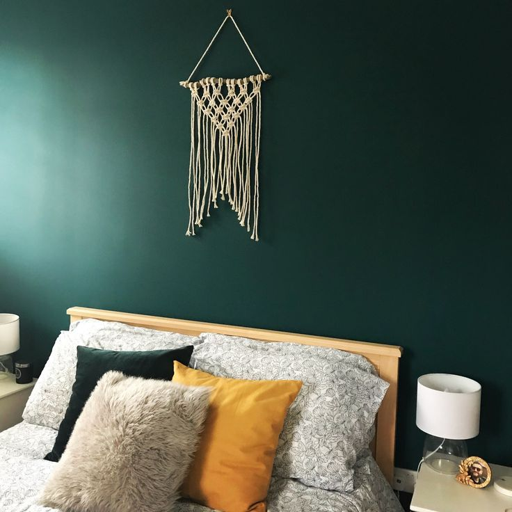 Wall Decor For Colored Wall Mossy Green And Gold Accent: Macrame, Dark Green, Mustard And Gold Accents With Glass