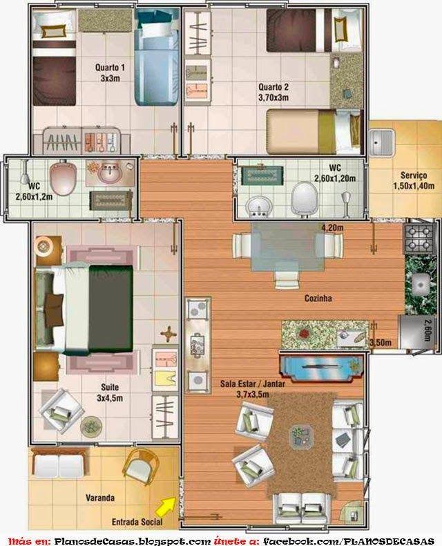 Plano De Casa Pequena De Un Piso Con Tres Dormitorios Planos De Casas Planos De Casas Sencillas Planos De Casas Economicas