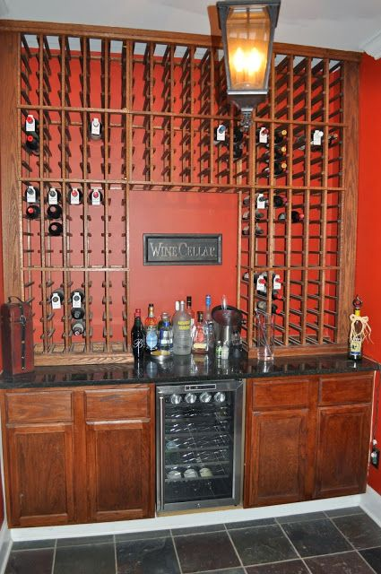 Diy Wine Room On A Budget Mini Wine Fridge Sits Between Two - Remnant kitchen cabinets