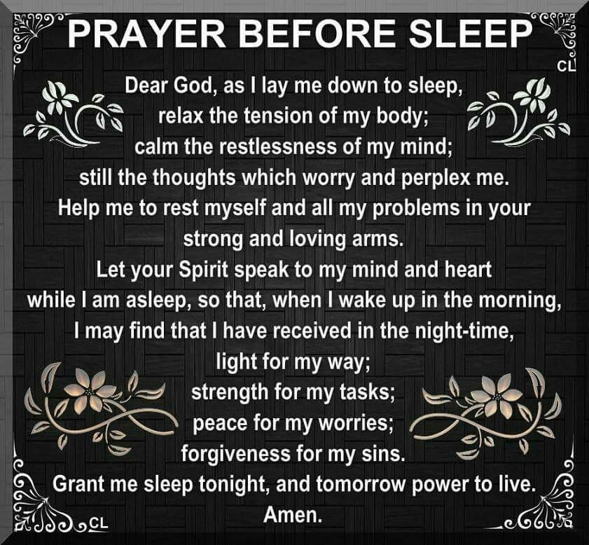 Prayer before sleep Prayers Pinterest Amen, Bedtime