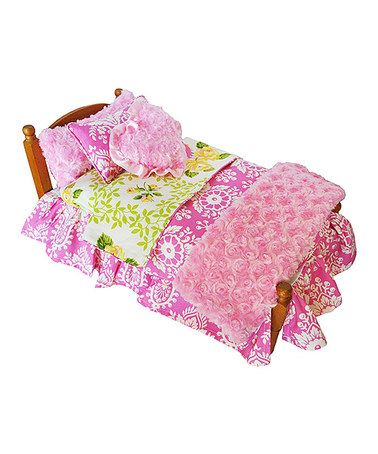 Look what I found on #zulily! Pink & Green Floral Bedding Set for 18'' Doll #zulilyfinds