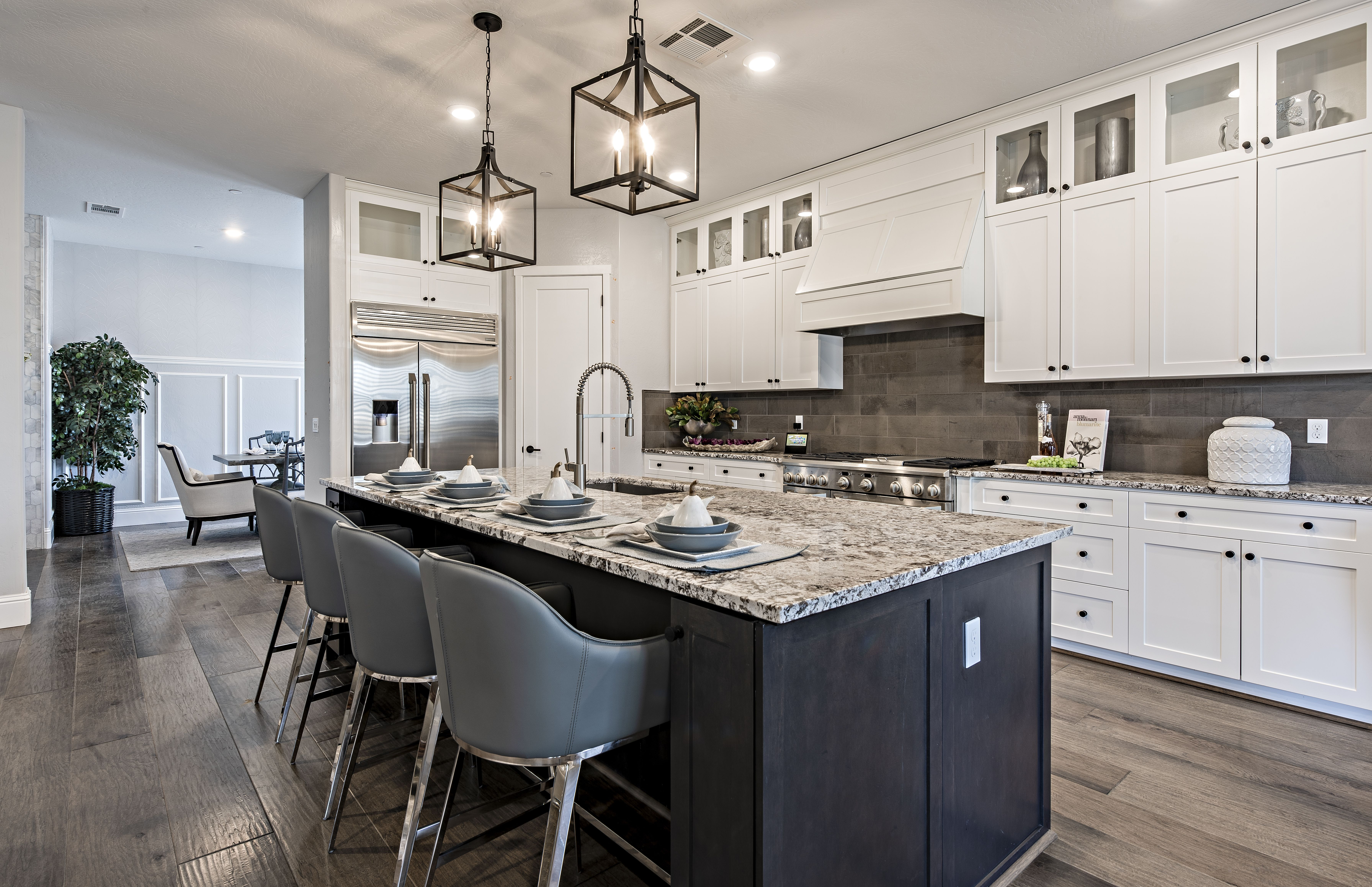 Dark Backsplash Complaining White Cabinets Looks Amazing In The Excelsior Floor Plan White Cabinets New Kitchen Kitchen Design
