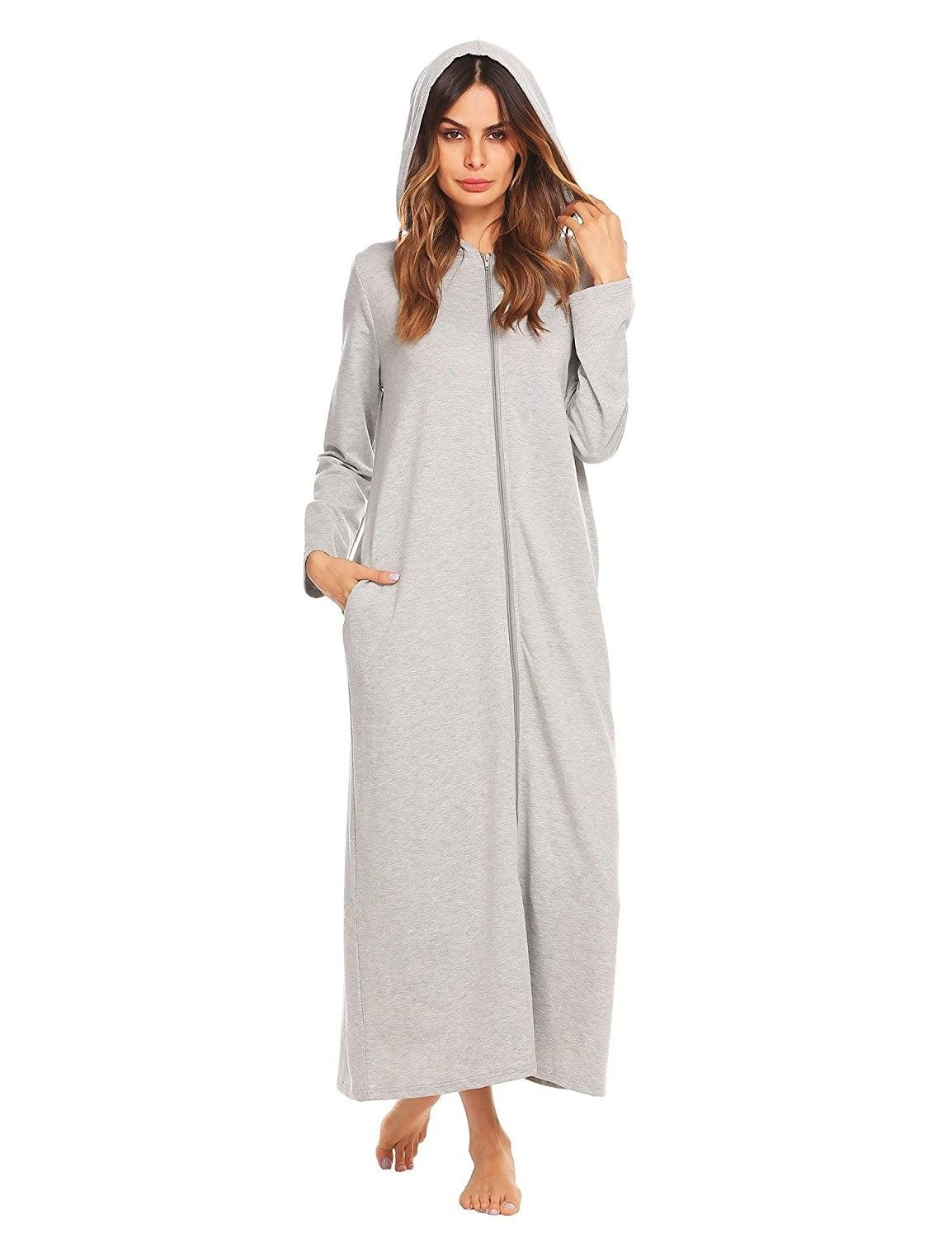 990bdd11d979 Women s Full Length Zip Robe Long Sleeve Hooded Bathrobe S-XXL - Grey -  CC187W6KGI4
