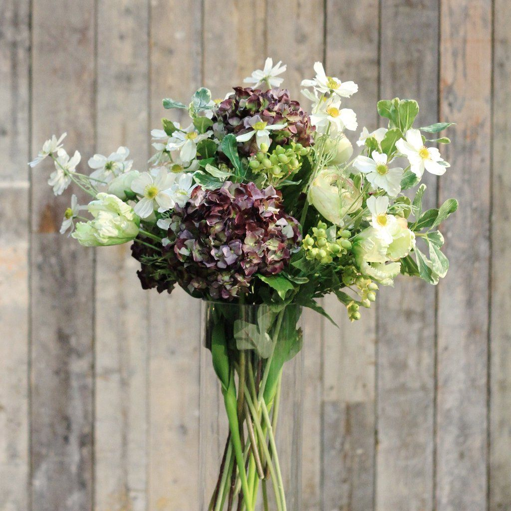 Purple hydrangea green ranunculus tulip cosmos and berry bouquet this purple and green bridal bouquet of faux flowers is the most realistic artificial flower arrangment perfect for a rustic barn wedding mightylinksfo