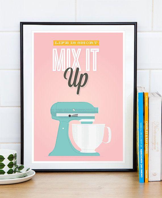 Kitchen Poster Quote Print Retro Kitchen Print Pink Home By Handz