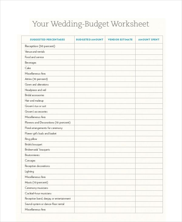 wedding budget templates free