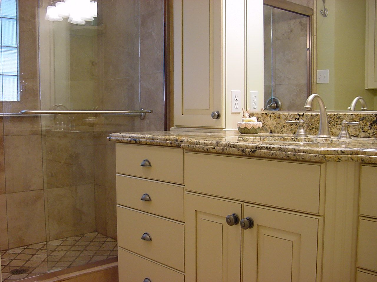 Bathroom Remodeling Utah bathroom remodel stone counter tops, cream cabinets, goose neck