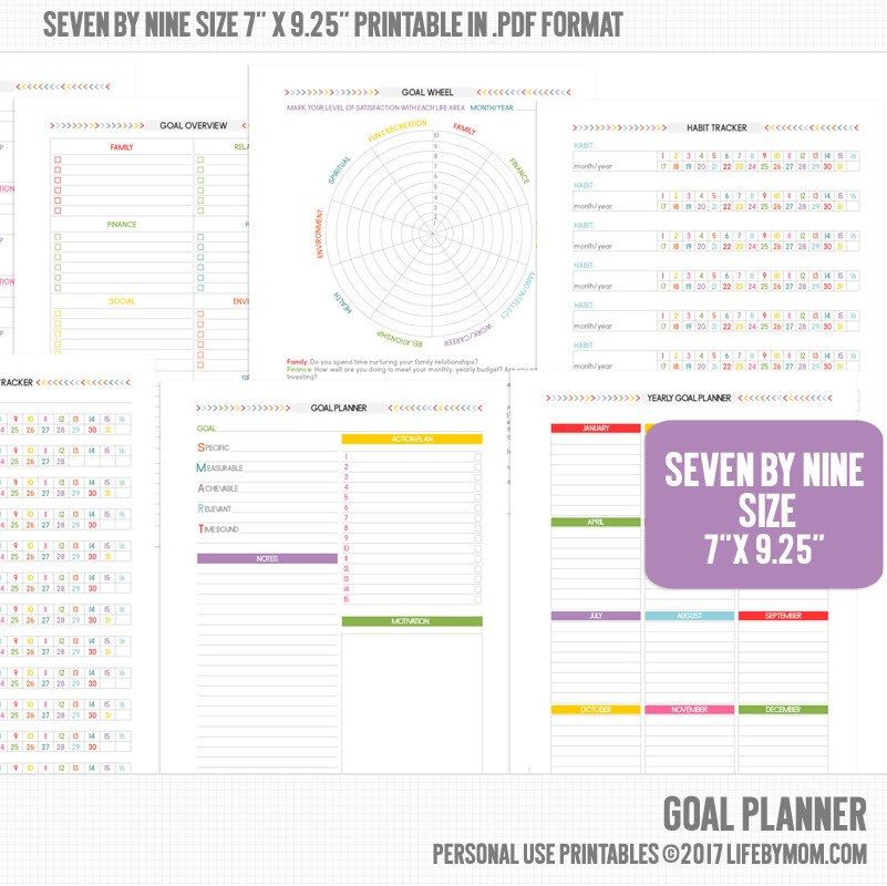 Bad Planner printable goal planner 7x9 25 for all those years