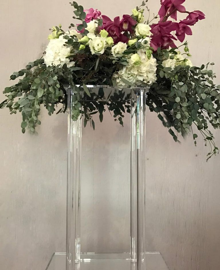 Acrylic Floral Stand Modern Rectangle Geometric Vases Crystal Centerpieces Wedding