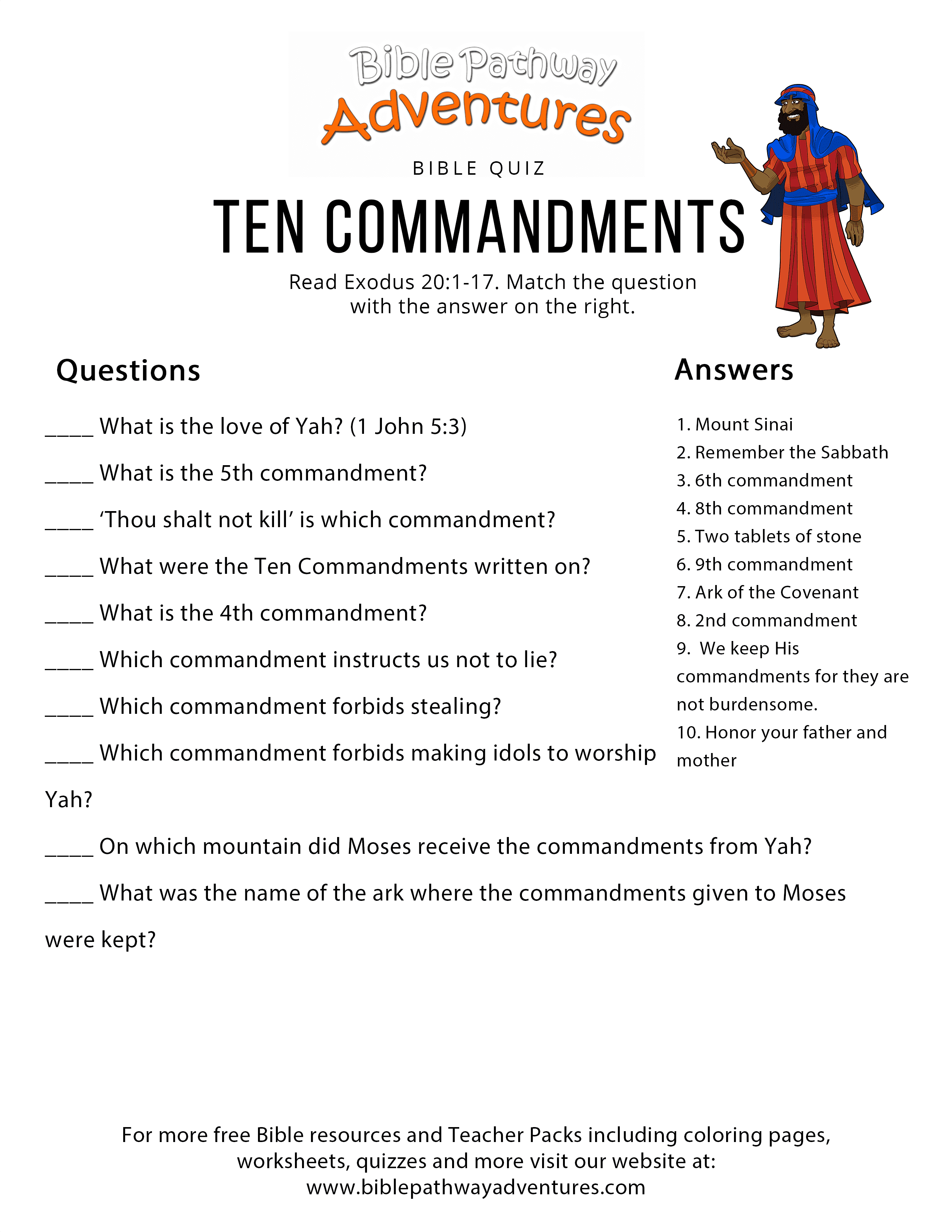 Free Bible Quiz Ten Commandments