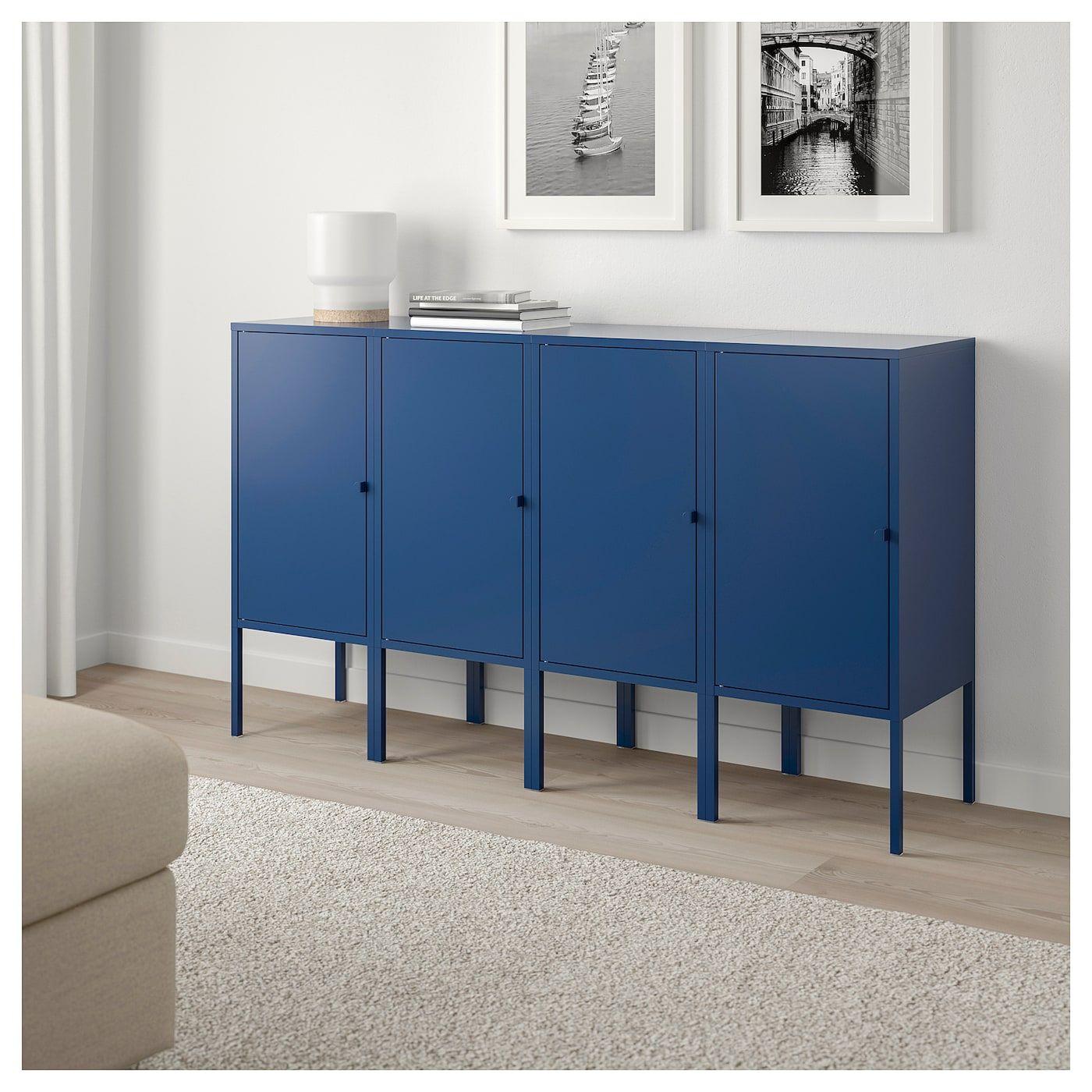 Lixhult Storage Combination Dark Blue 55 1 8x32 1 4 Ikea Metal Storage Cabinets Ikea Storage
