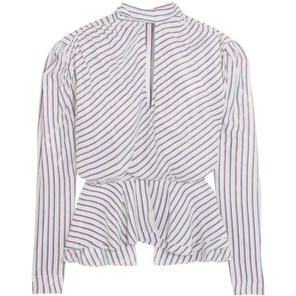 Balenciaga Printed crinkled chiffon blouse (8.175 DKK) ❤ liked on Polyvore featuring tops, blouses, shirts, stripe top, padded shirt, balenciaga shirt, stripe blouse and shirt top