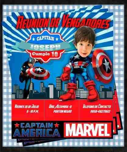 Invitación De Cumpleaños Niño Capitan America Photoshop Bs