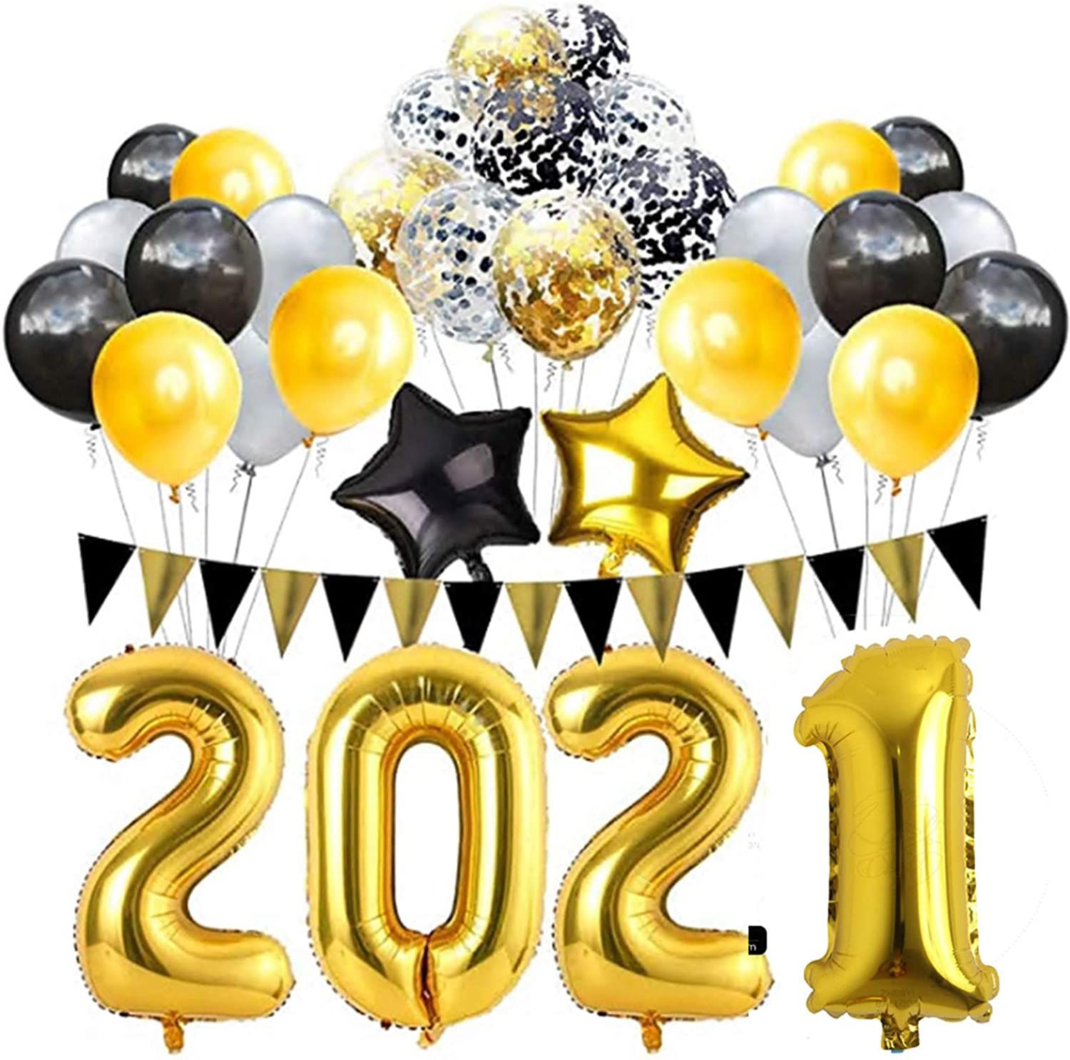 New Year Graduation Party Supplies Black And Gold Balloons Party Balloons 2021 new year balloons and gift