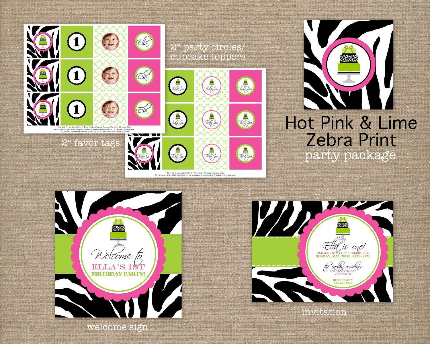 Custom Printable Hot Pink and Lime Green Zebra Print Birthday Party