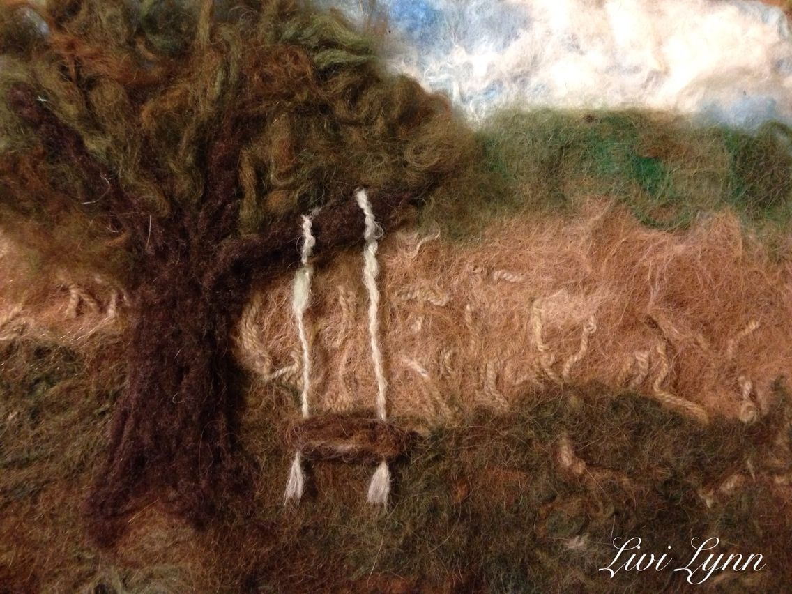 """Wet and needle felted painting """"The Swing"""""""