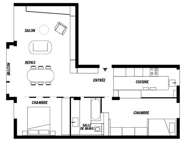 un appartement aux lignes graphiques 2d. Black Bedroom Furniture Sets. Home Design Ideas