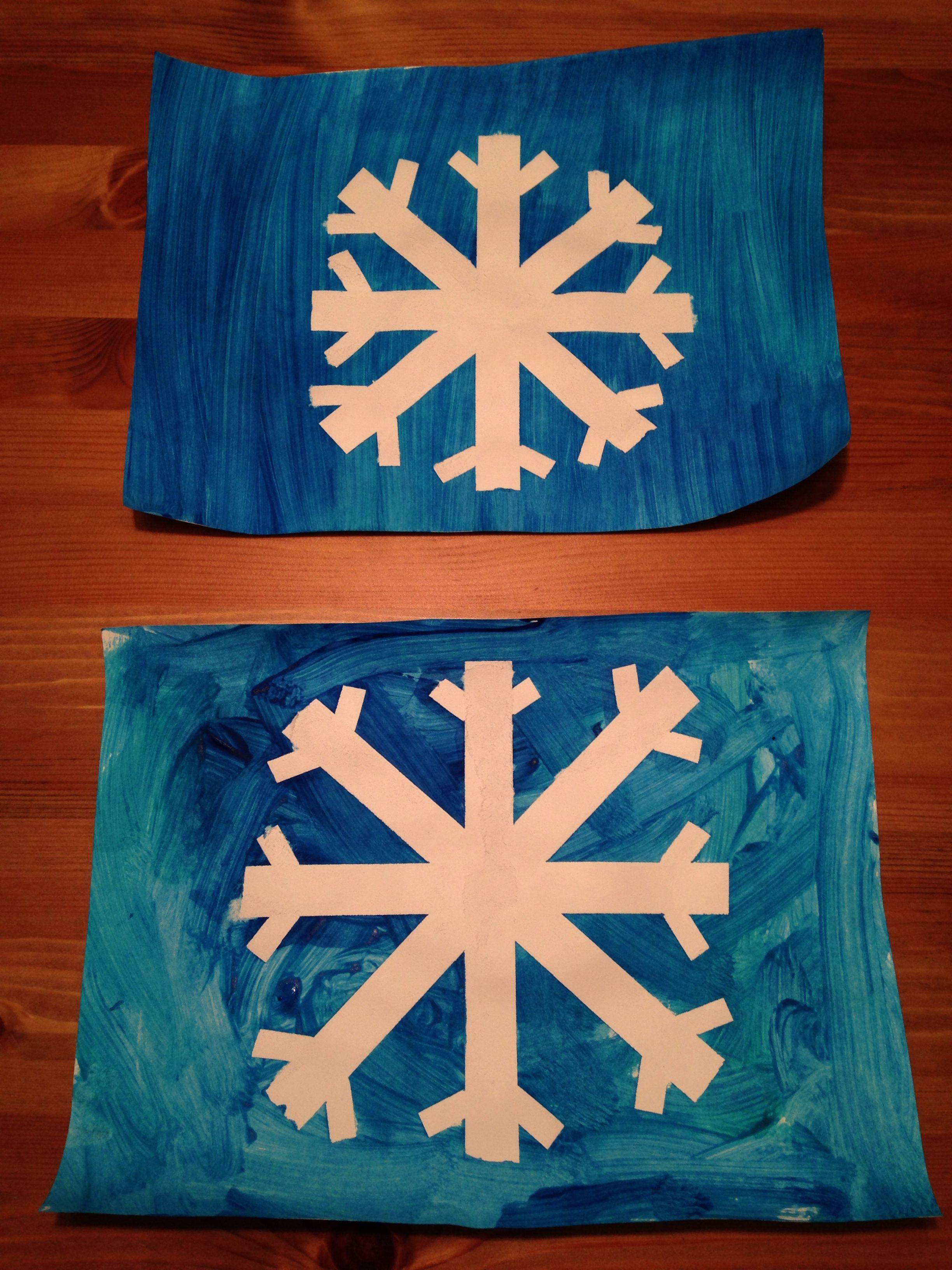 Tape Resist Snowflake Craft