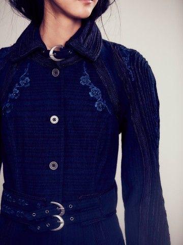 Blue New Romantics Topographic Trench Coat