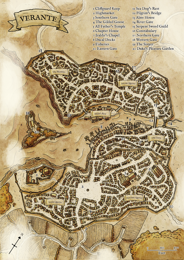 Updated Dnd Map For My Homebrew City Of Verante Hand Drawn And Coloured In Ps All Feedback Welcome The Reclu Fantasy World Map Fantasy City Map Fantasy Map